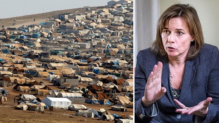 Montage Isabella Lövin och flyktingläger Syrien