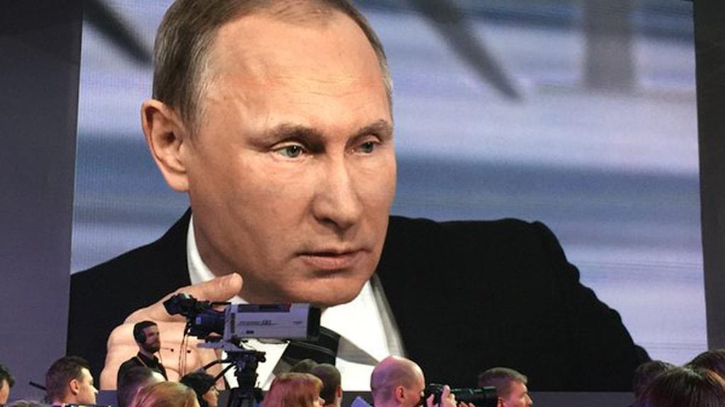 Putin håller pressträff, vår korrespondent är på plats. Foto: Maria Persson Löfgren/Sveriges Radio.