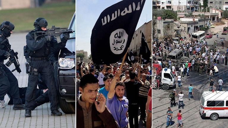 Tysk polis övar terrorattentat. Anhängare till IS demonstrerar. Bilbomb i Irak där 10 människor dödats. Foto: TT. Montage: Sveriges Radio.