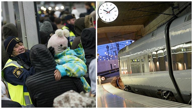 Ankommande flyktingar vid Hyllie station i Malmö. Foto: Johan Nilsson/TT.