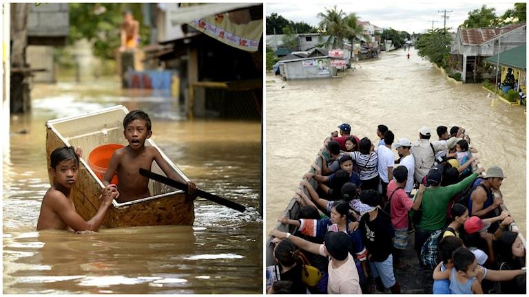 Minst 150 000 människor har tvingats lämna sina hem i Filippinierna på grund av tyfonen Melor. Foto: TT/ AFP/ NOEL CELIS.