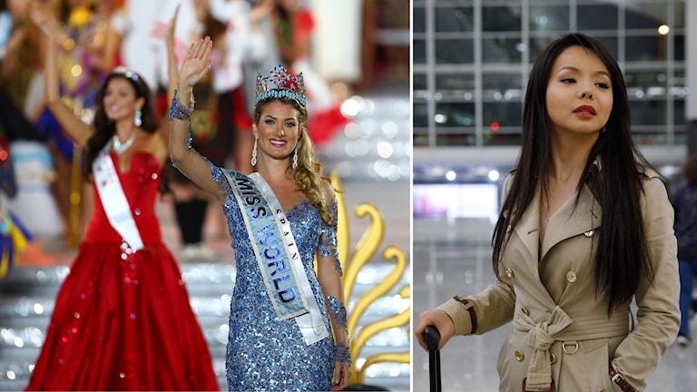 Miss World vinkar, MIss Kanada väntar på flygplats. Foto: AP Montage: Sveriges Radio