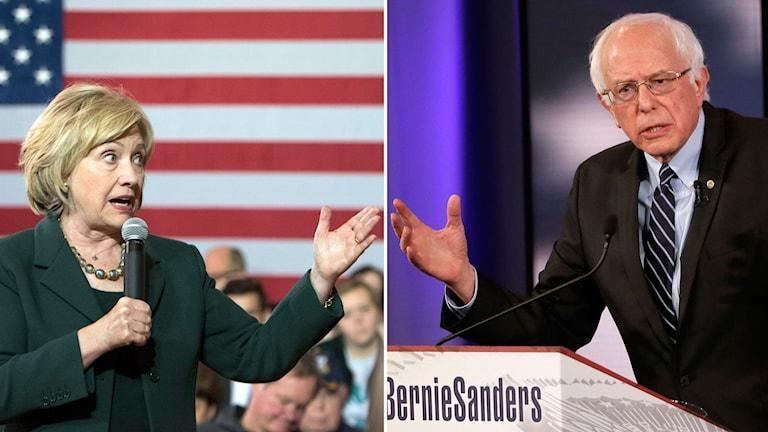 Hillary Clinton och Bernie Sanders möt i en vad som väntas bli en sprakande debatt i natt. Foto: AP