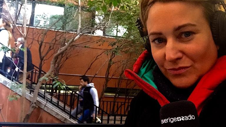 Vår korrespondent Beatrice Janzon rapporterar direkt från Madrid under dagen. Foto: Beatrice Janzon/Sveriges Radio.