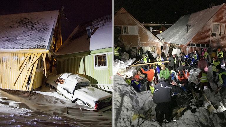 Räddningsinsatser efter lavinen i Longyearbyen. Foto: TT.