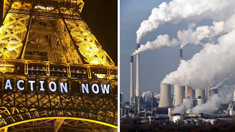 Två bilder: Eiffeltornet i Paris under klimatmötet och tyska kolkraftverk. Foto: Michel Euler/TT och Martin Meissner/TT.