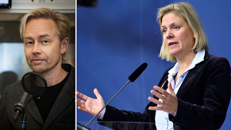 Ekots kommentator Fredrik Furtenbach. Foto: Pablo Dalense/Sveriges Radio. Finansminister Magdalena Andersson. Foto: Marcus Ericsson/TT.