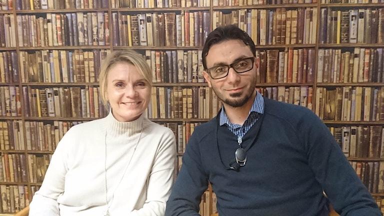 Åsa Bergman, vd Sweco Sverige och Omar Tobba, maskiningenjör från Syrien. Foto: Hannah Engberg / Sveriges Radio