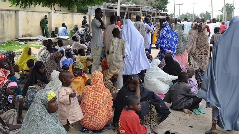 Kvinnor och barn har sökt skydd på en skola i Nigeria sedan terrorgruppen Boko Haram genomfört attacker i området. Arkivfoto: Jossy Ola/AP/TT.