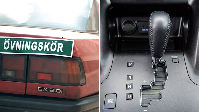 Röd smutsig personbil med skylten övningskörning ovanför baklyktan. Till höger en automatväxelspak. Foto: TT. Montage: Sveriges Radio.