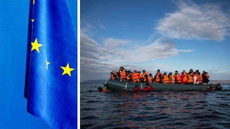 EU-flaggan och en båt med flyktingar i flytvästar. Foto: Yvonne Åsell och Santi Palacios/TT.