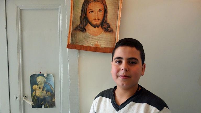 13-årige Rawad drömmer om att bli präst. Foto: Katja Magnusson/ Sveriges Radio.