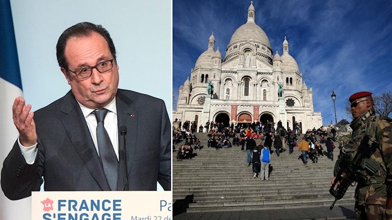 President Francois Hollande deklarerade krig mot terrorismen efter Parisattackerna den 13 november. Foto: AP Montage: Sveriges Radio