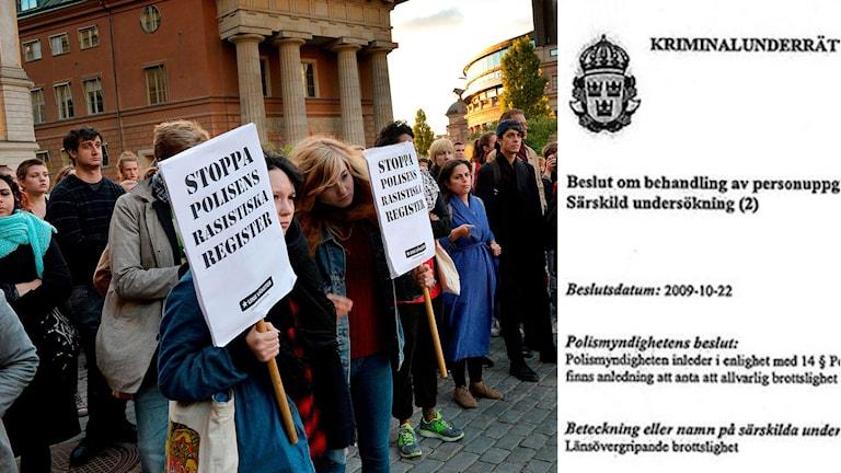 Demonstration utanför Riksdagshuset efter det att registreringen av romer avslöjats. Skärmdump på polishanding. Foto: TT. Montage: Sveriges Radio.