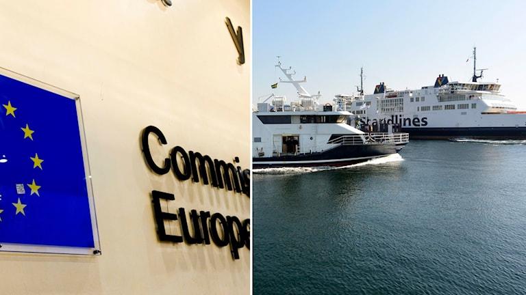 EU-kommissionens byggnad Berlaymont i Bryssel och Öresundstrafik.