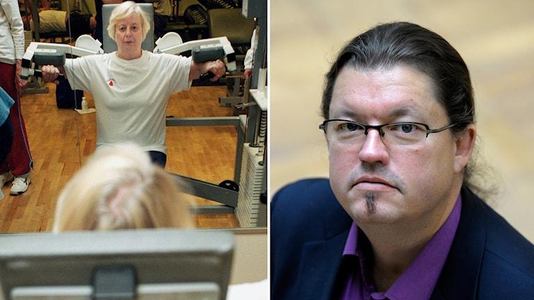 Pensionär som styrketränar och framtidsforskaren Anders Ekoholm. Foto: Erik G Svensson och Janerik Henriksson/TT