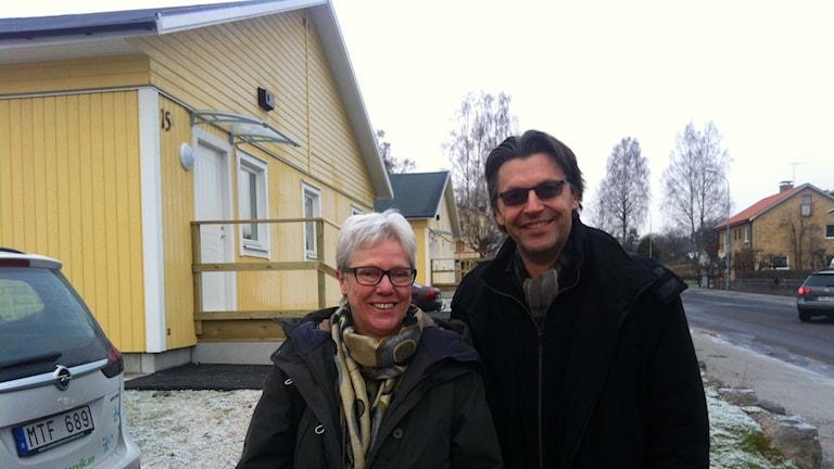 Christina Ekstrand, Västerviks kommun och Lars Borgemo, Migrationsverket. Foto: Alexandra Svedberg/SR
