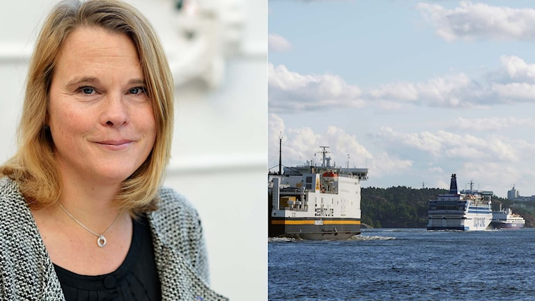 Pia Berglund, vd Svensk Sjöfart samt färjor vid Stockholms inlopp. Foto: Svensk Sjöfart och TT. Montage: Sveriges Radio.