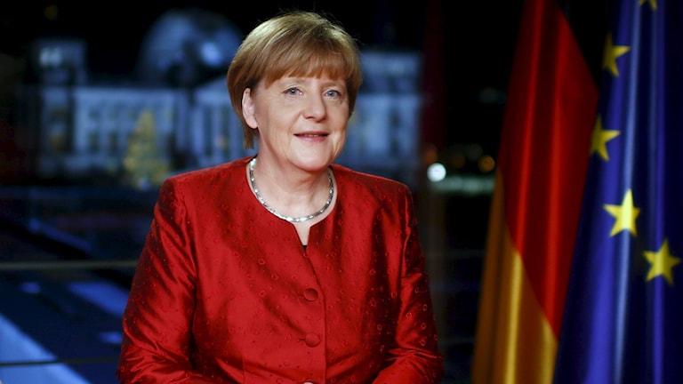 Tysklands förbundskansler Angela Merkel nyårstalar. Foto: Hannibal Hanschke/TT