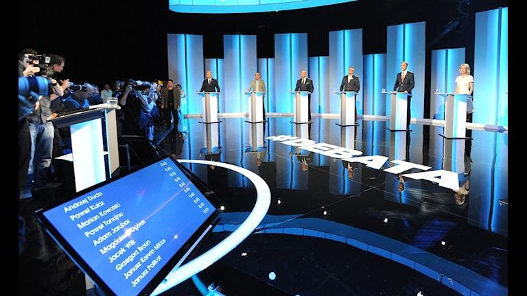 Tv-debatt i Polen. Foto: Alik Keplicz/TT