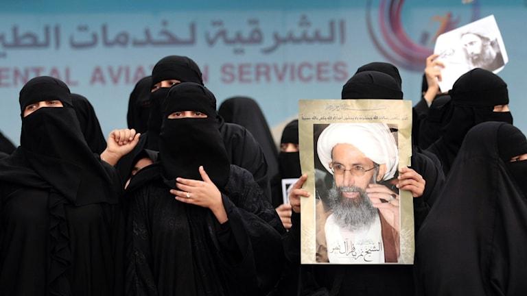 Saudiska kvinnor protesterar. Foto: AFP/TT.