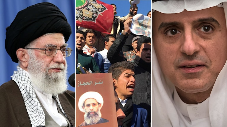Ayatolla Ali Khameni, demonstranter i Iran och Saudiarabiens utrikesminister Adel al-Jubeir. Foto: Ahmad Qasem/TT