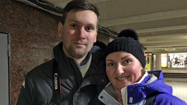 32åringarna Maxim och Julia ser brytningen med Ryssland som naturlig. Foto: Maria Persson Löfgren/Sveriges Radio.