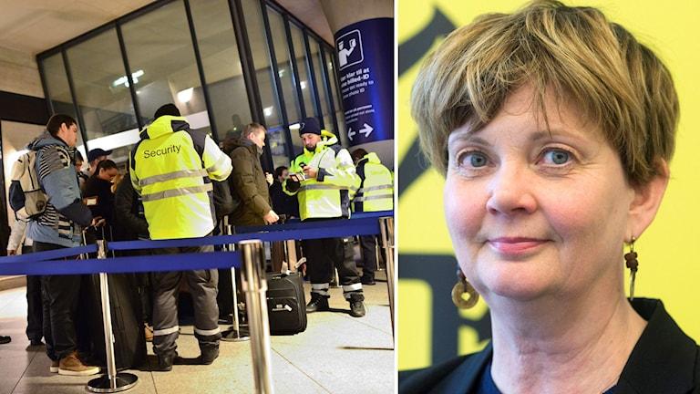 T.h. Säkerhetspersonal genomför id-kontroller. T.v. Madelaine Seidlitz, Amnesty. Foto: TT