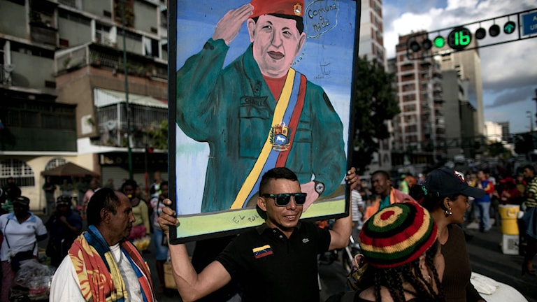 Anhängare till Venezuelas socialistiska regering. Foto: Alejandro Cegarra/TT.