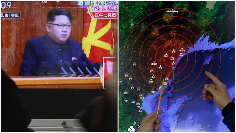 Kim Jong Un hävdar att Nordkorea sprängt en vätebomb. Foto: AP Photo/Eugene Hoshiko/TT.