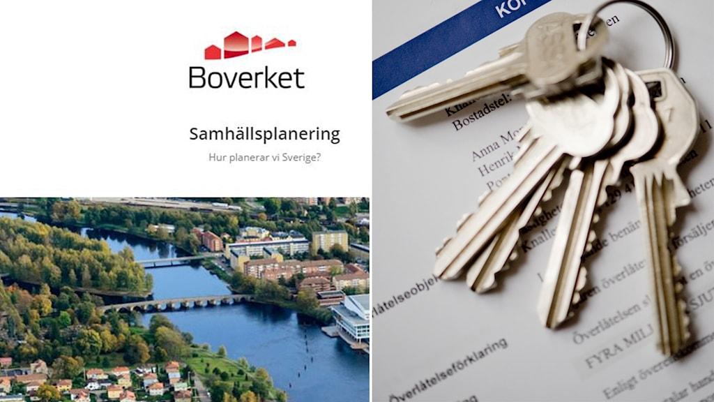 Ett bildmontage med nycklar och en skärmdump från Boverkets hemsida.