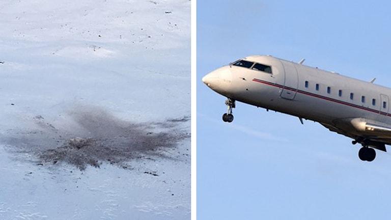 Haveriplatsen för det kraschade postflyget av typen Canadair CRJ-200 är bara ett hål i marken. Foto. Marja Påve/ Sameradion och Johan Nilsson/TT