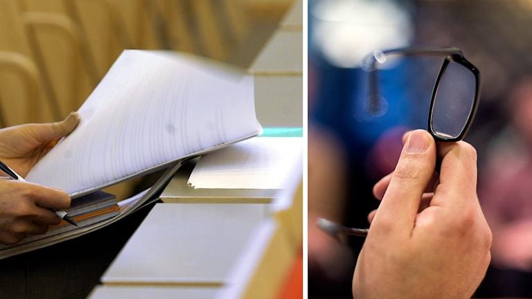Person som bläddrar i föreläsningsmaterial och en hand som håller i ett par glasögon. Foto: Janerik Henriksson och Pontus Lundahl/TT.