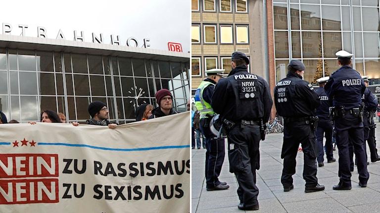 Protester i Tyskland efter de massiva övergreppen mot unga kvinnor under nyårsnatten.
