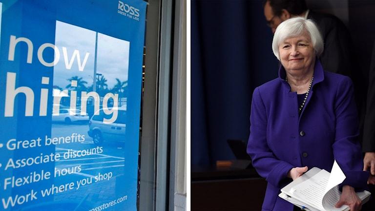 kollage skylt med texten Now Hiring och Janet Yellen från amerikanska centralbanken