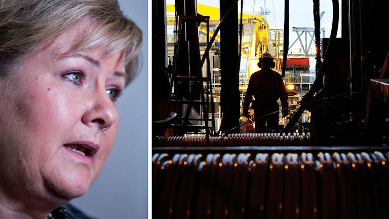 Delad bild: Norges statsminister Erna Solberg samt man på oljeplattform. Foto: Audun Braastad/TT samt Marit Hommedal/TT.
