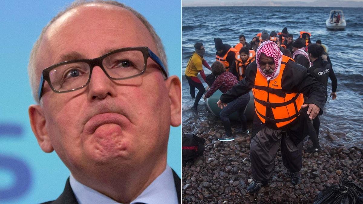 EU-kommissionären Frans Timmermans och flyktingar som går i land på Lesbos. Foto: TT. Montage: Sveriges Radio.