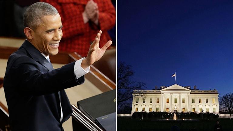 Delad bild: Obama vinkar och Vita huset i skymning