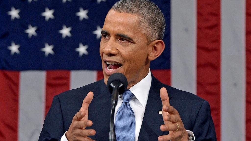 Barack Obama håller tal framför amerikansk flagga. Foto: Mandel Ngan/TT.