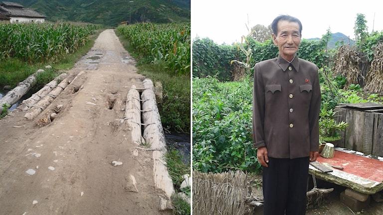 """Mr Pak, i byn Sambong i Hongwons kommun, i sin bostad – som blivit översvämmad 3-4 gånger de senaste 10 åren. Han är 70 år och pensionerad och tog emot inne i sitt hus, men när jag ville ta en bild så tog han på sig jacka.  I sin köksträdgård odlade han chili, kål, aubergine, tomater och hade sina djur – gris, ankor, höns, och hund."""", berättar Ewa Eriksson."""