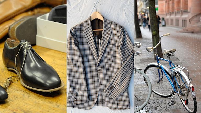 Regeringen vill att skor, kläder och cyklar ska bli billigare att reperara. Foto: Leif R Jansson/Scanpix, Henrik Montgomery/TT Bild.