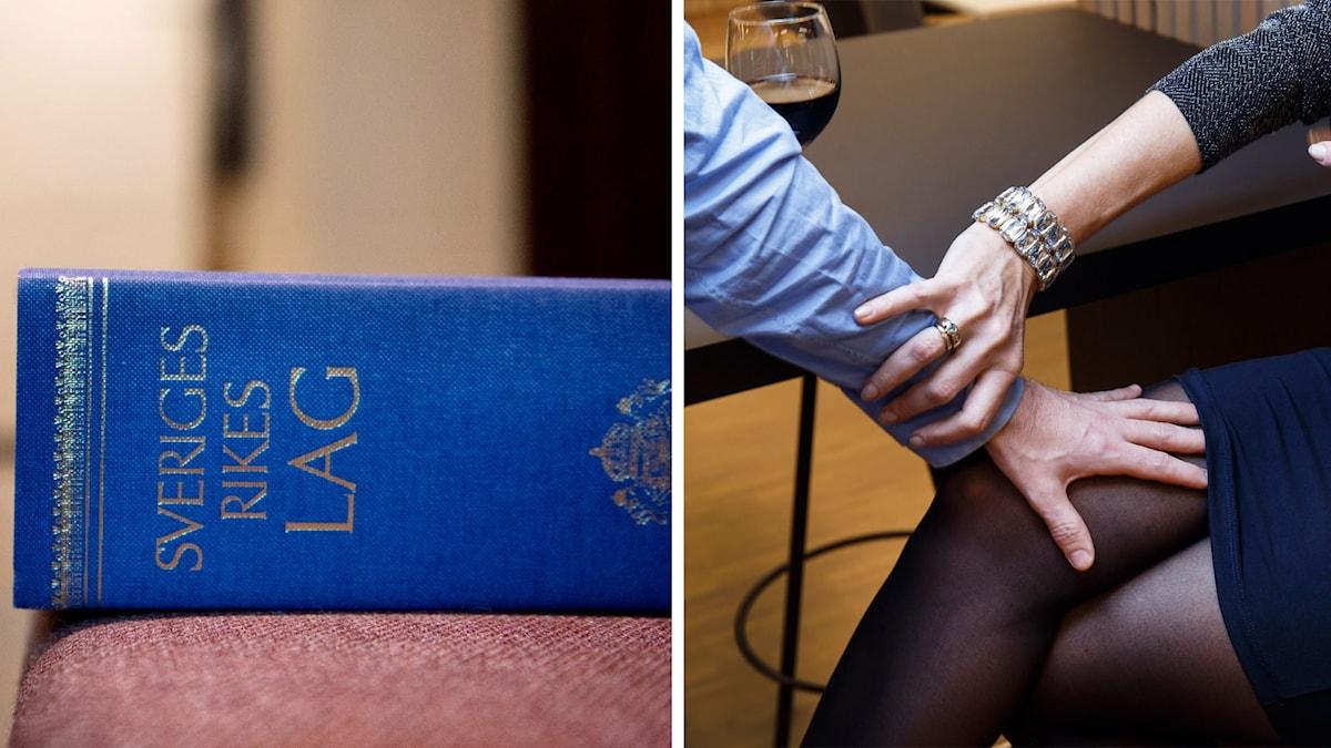 En lagbok och en man som tafsar på en kvinnas ben. Foto: Jessica Gow och Gorm Kallestad/TT.