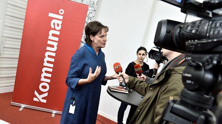 Kommunals ordförande Annelie Nordström i samband med en presskonferens på torsdagen. Foto: Claudio Bresciani / TT / kod 10090
