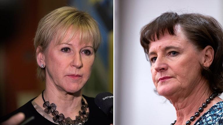 Wasiirka arrimmaha dibadda Margot Wallström iyo hoggaamiyaha ururka shaqaalaha Kommunal Annelie Nordström. Sawir la farsameeyey.