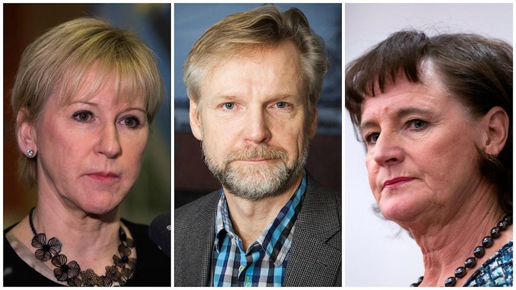Utrikesminister Margot Wallström, Ekots politiska kommentator Tomas Ramberg och Kommunals ordförande Annelie Nordström. Foto: Pablo Dalence/Sveriges Radio och TT.