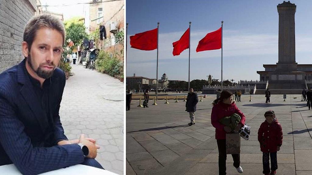 Kinesiska turister går på Himmelska Fridens torg i Peking. Svensken Peter Dahlin. Foto:Vincent Thian/Scanpix.