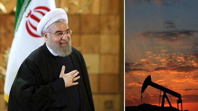 Bildmontage på Irans president Rouhani och oljeplattform.