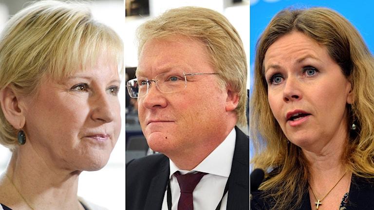 Margot Wallström, utrikesminsiter, Lars Adaktusson, EU-parlamentariker för KD och Cecilia Wickström (L), EU-parlamentariker. Foto: TT
