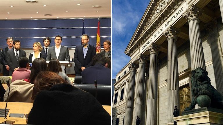 Albert Rivera håller presskonferens i kongressen i Madrid där nya partier valts in. Foto: Beatrice Janzon/Sveriges Radio
