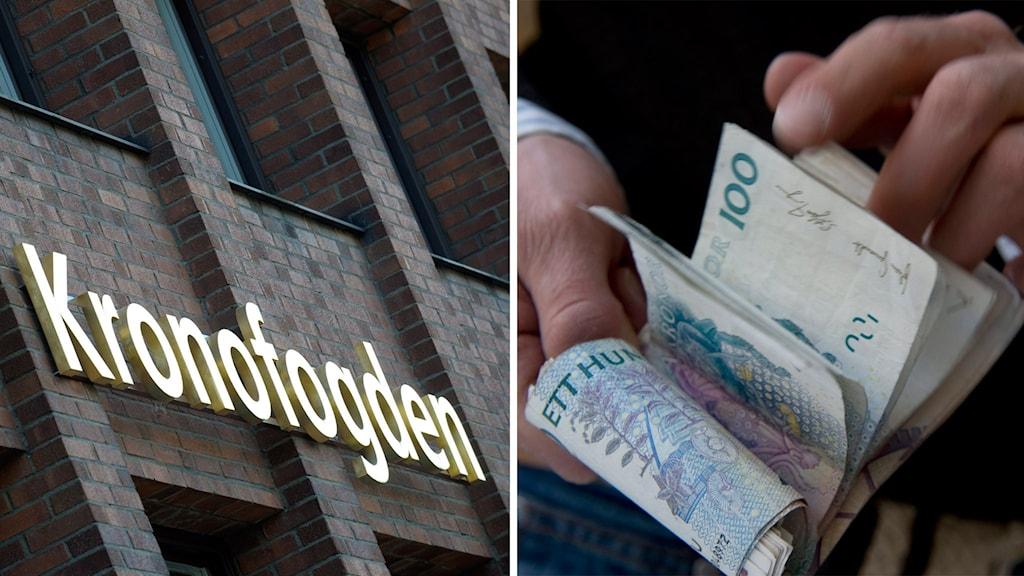 Kronofogdens logotyp och en man som bläddrar i en sedelbunt. Foto: Fredrik Sandberg/TT.